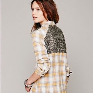 Free People Yellow Plaid and Sequin Flannel Top
